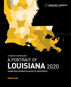 The cover of A Portrait of Louisiana 2020, featuring a yellow map of the state on a black background.